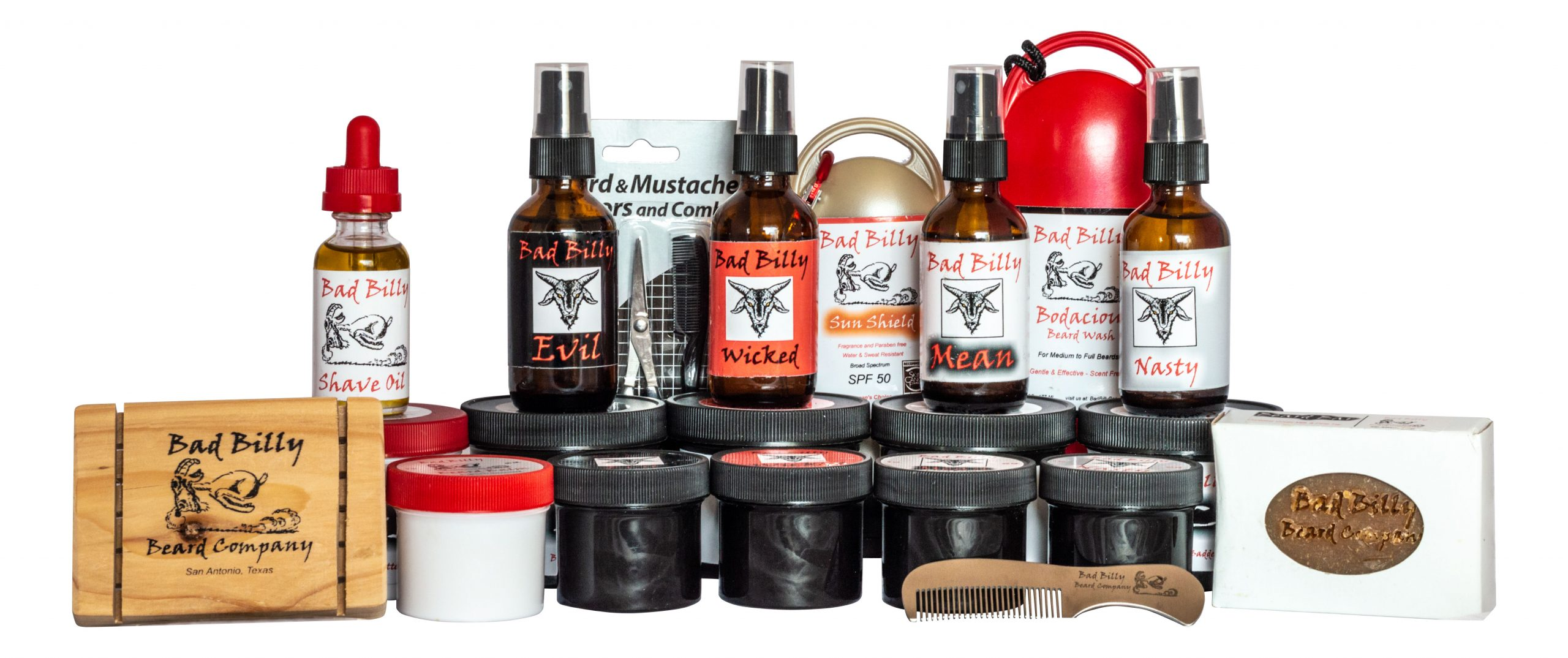 "WELCOME TO BAD BILLY BEARD COMPANY! We are so happy that you've found us! Here are the most affordable beard care products on the planet. Designed for guys with goatees, short beards, stubble, and scruff! We've searched the world to get the best prices for the best stuff! What else do you need when you've got the basics covered?! When I first started my goatee, I looked around for something to stop the itch! Every guy who has ever grown a beard has run into this problem, and I was no exception. Looking at the men's counter at the local drug, big box, and grocery stores turned up nothing at all! I started researching and the result has now become Bad Billy Beard Company. Almost all the beard care products found on the internet are pricey. For the fellows that have long, full beards There's just nothing for us who like the neat look of a goatee or short beard, and there's even less for the short, stubble or ""scruff' look that so many like to wear…WELL NOW THERE IS! We ARE your affordable source for face and beard care and we have a great product line-up that should take care of the itch, help you with a clean and precise shave, and make your beard soft and manageable. We're a home-based business deep in the heart of Texas and our goal is to give you beard care products found nowhere else at prices that make sense. Check us out and give us a try!"